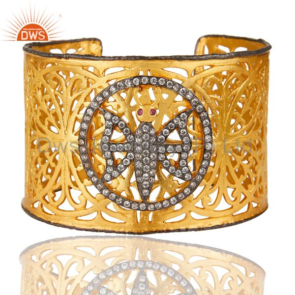 Exporter 22K Yellow Gold Plated Filigree Butterfly Hammered Wide Cuff Bracelet With CZ