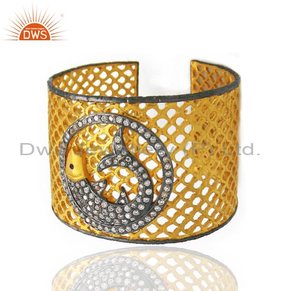 Exporter 22K Yellow Gold Plated Brass CZ Dolphin Design Filigree Wide Cuff Bracelet