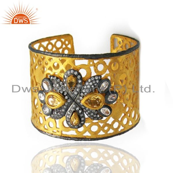 Exporter 24K Yellow Gold Plated Brass Citrine And CZ Filigree Cuff Bracelet Wide Bangle