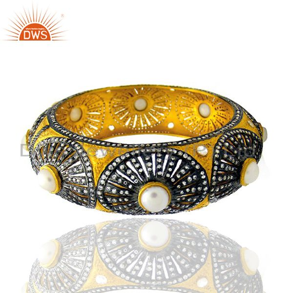 Supplier of 22k yellow gold plated brass cz pearl designer wide cuff bangle