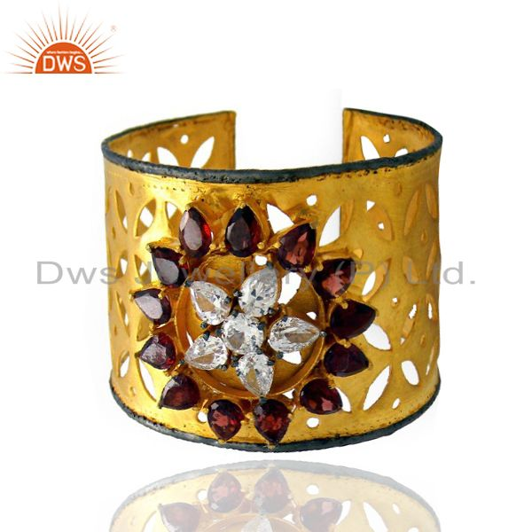 Exporter 22K Yellow Gold Plated Brass Garnet And And CZ Filigree Cuff Bracelet Bangle