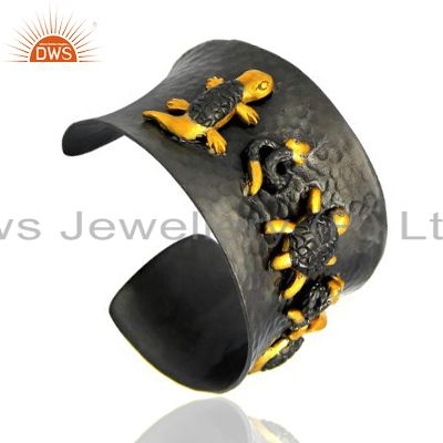 Exporter Oxidized And 18K Yellow Gold Plated Brass CZ Turtle Designer Cuff Bracelet