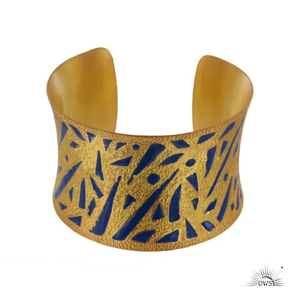 Exporter 22K Yellow Gold Plated Brass Hammered Wide Cuff Bracelet Bangle With Blue Enamel