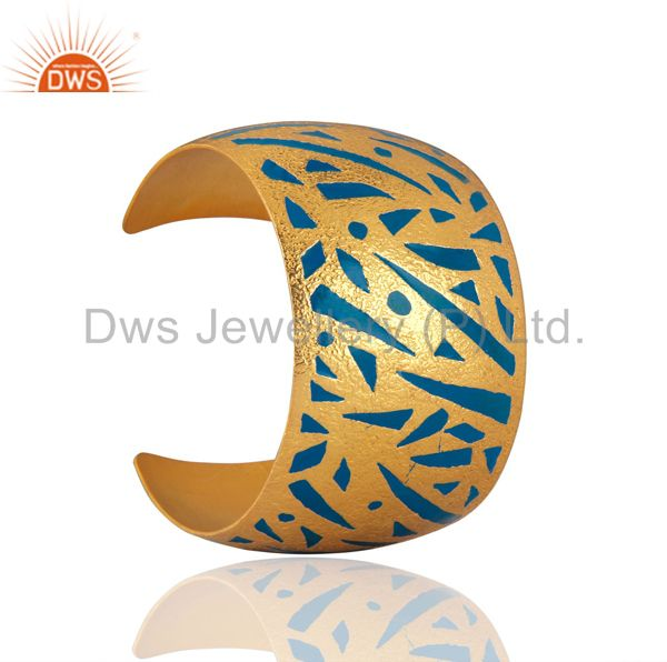 Exporter Designer Inspired Enamel Hand-Painted Cuff Bangle in 24k Gold Plated Jewellery