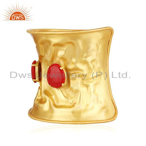 Supplier of Red Coral Gemstone Gold Plated Brass Fashion Fold Form Cuff Bracelet