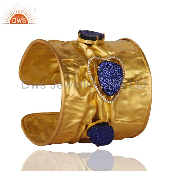 Exporter 24K Yellow Gold Plated Brass Blue Druzy Agate Designer Cuff Bangle With CZ