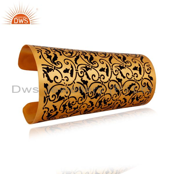 Exporter 18k Gold Plated Enameled Floral Design Painted New Fashion Bangle Cuff Bracelets