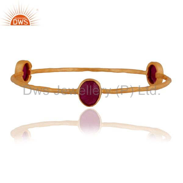 Supplier of Handmade dyed ruby gemstone 24k yellow gold plated bangle jewelry