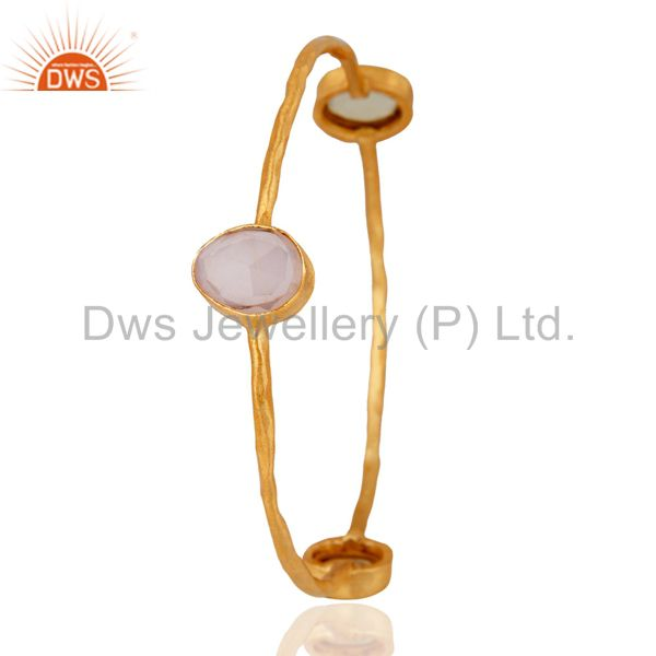 Supplier of 24k yellow gold on bangle semi precious stones stackable jewelry