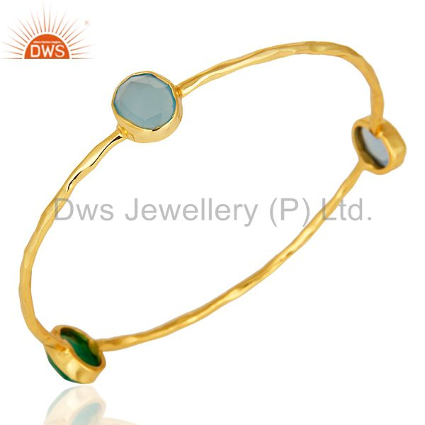 Supplier of 14k gold plated bezel set green onyx and blue chalcedony bangle