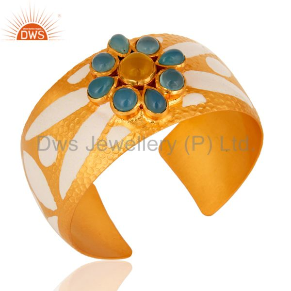Exporter 18K Yellow Gold Plated Over Brass Wide Bangle Cuff Bracelet With Enamel Work