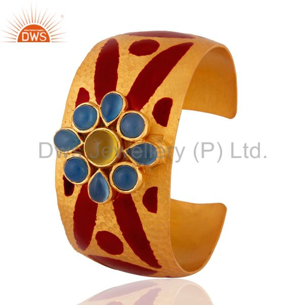 Exporter Blue Chalcedony 24k Gold Plated Hand Painted Enamel Fashion Cuff Bangle Bracelet