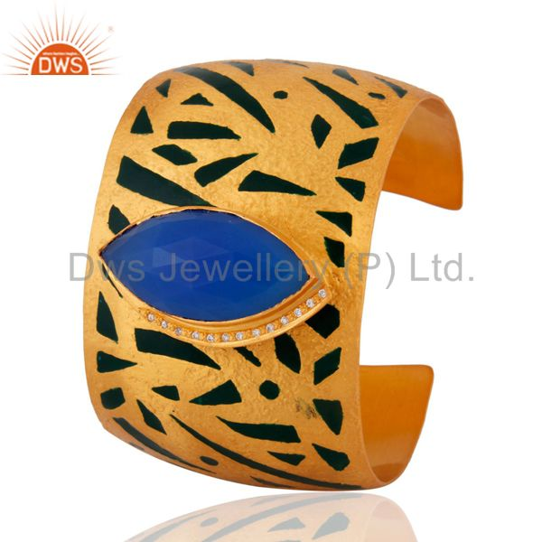 Exporter Blue Chalcedony CZ Womens Gold Plated Painted Enamel Wide Cuff Bracelet Bangle