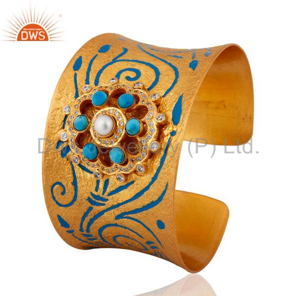 Exporter New Designer Inspired Natural Pearl & Turquoise Enamel Painted Cuff Bracelet