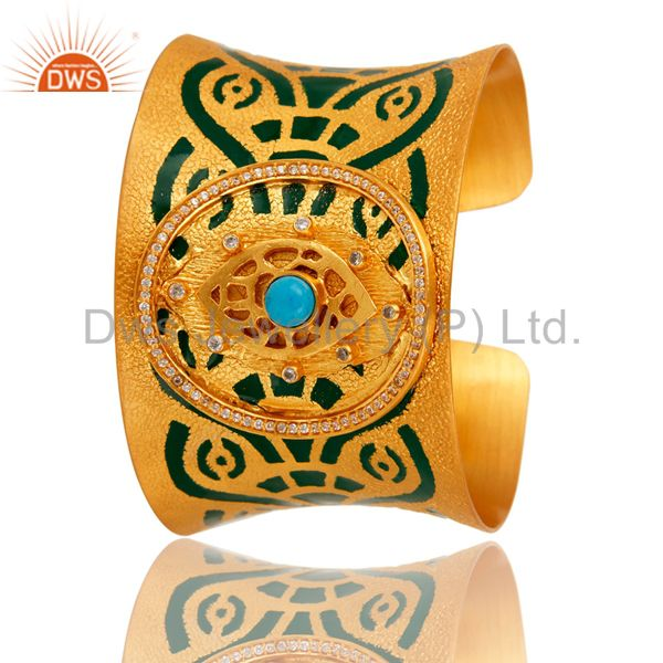 Exporter 18K Gold Plated Brass Turquoise And CZ Handmade Cuff Bracelet With Enamel Paint
