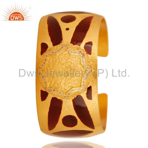 Exporter 18K Yellow Gold Plated Brass Fashion Wide Cuff Bangle With Red Enamel