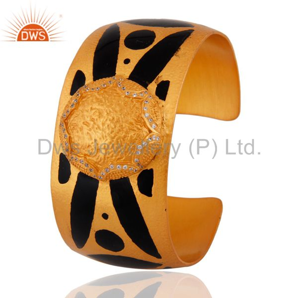 Exporter Hand-crafted White Cubic Zirconia Gold Plated Cuff Bracelet With Enamel Painted