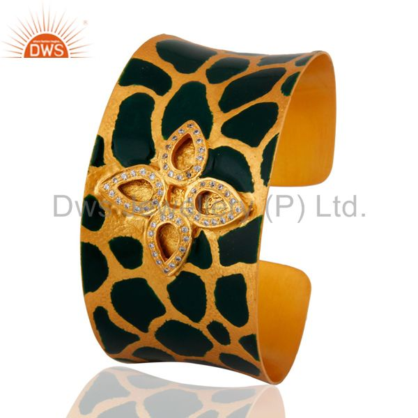 Exporter 24 Carat Gold Plated Cubic Zirconia Handcrafted Womens Cuff Bracelets Jewelry