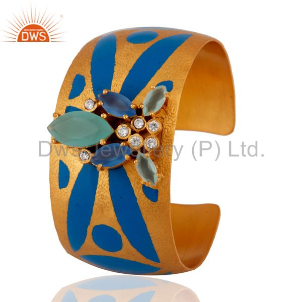 Exporter Aqua Chalcedony And CZ Gold Plated Handcrafted Cuff Bracelet Fashion Jewelry
