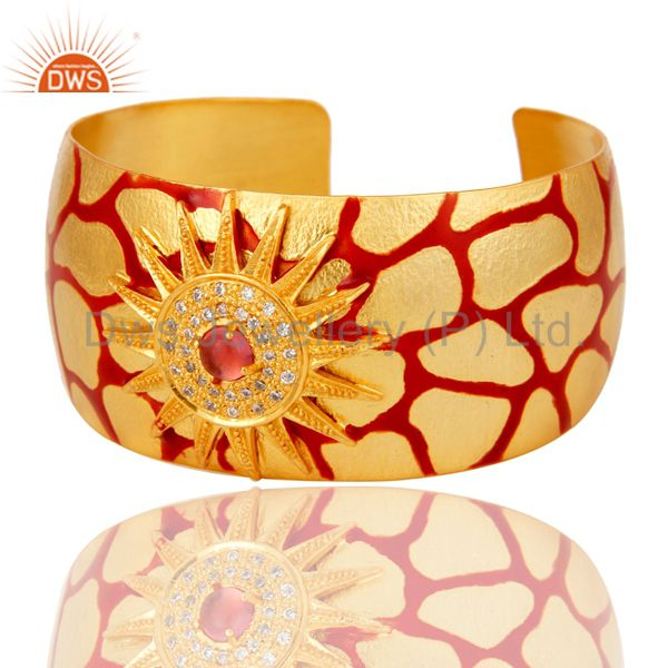Exporter 18K Gold Plated Red Glass with White CZ and Red Enamel Cuff Fashion Jewelry