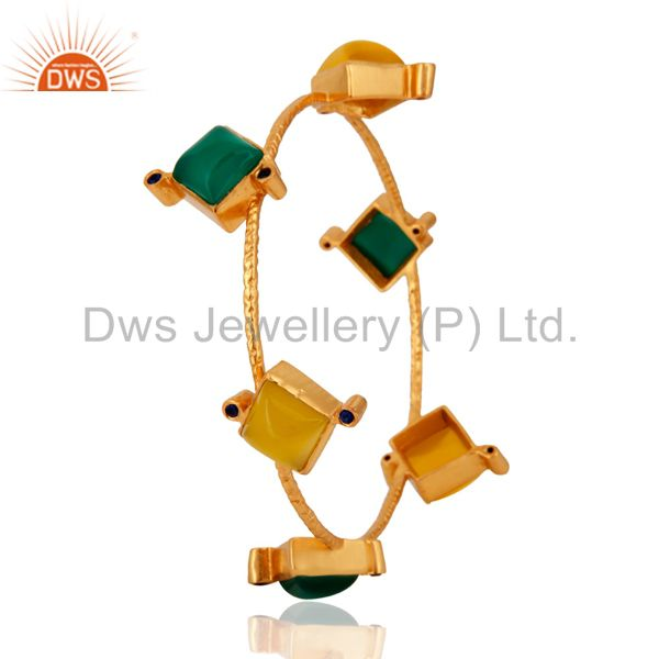 Supplier of Natural green onyx gemstone bangle 18k yellow gold plated jewelry