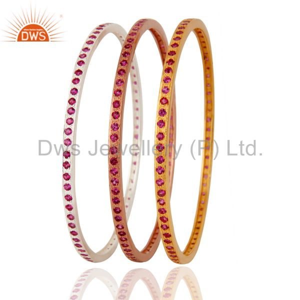 Supplier of 18k gold ruby color cubic zirconia sleek wedding fashion bangle 3 pcs