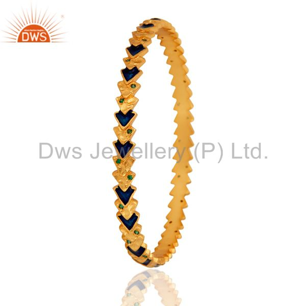 Supplier of 18k yellow gold plated green cubic zirconia bangle blue enamel