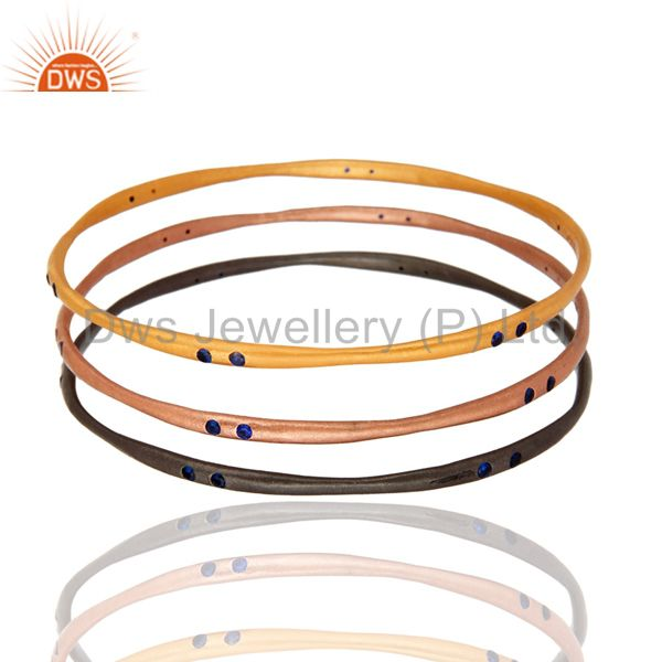 Supplier of 18k gold plated blue cubic zirconia bangle women girls 3 pcs set