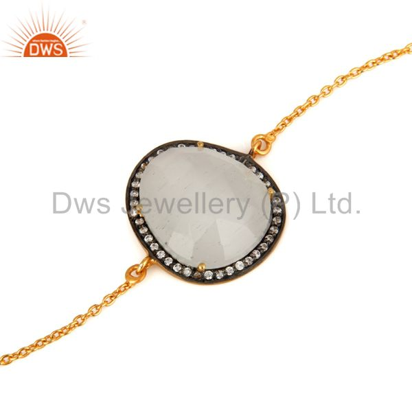 Manufacturer of White Moonstone & White Zircon 18K Gold Plated Brass Bracelet