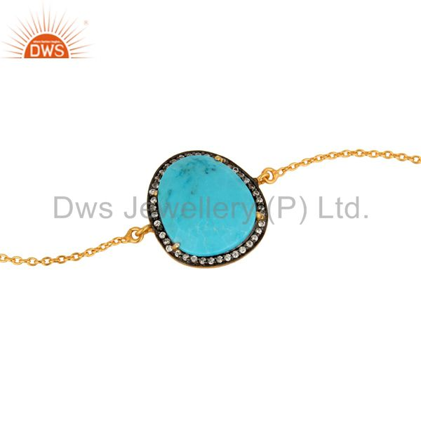 Exporter 14K Yellow Gold Plated Link Chain Bracelet With Turquoise And CZ