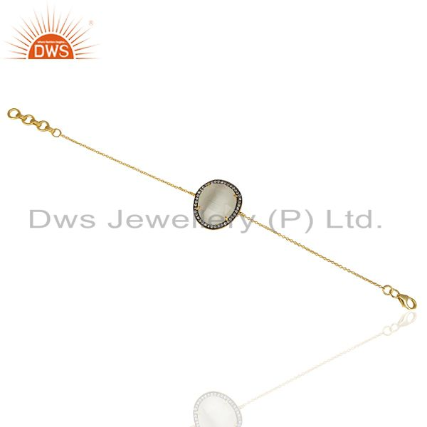 Exporter 14K Yellow Gold Plated 925 Sterling Silver White Moonstone CZ Chain Bracelet