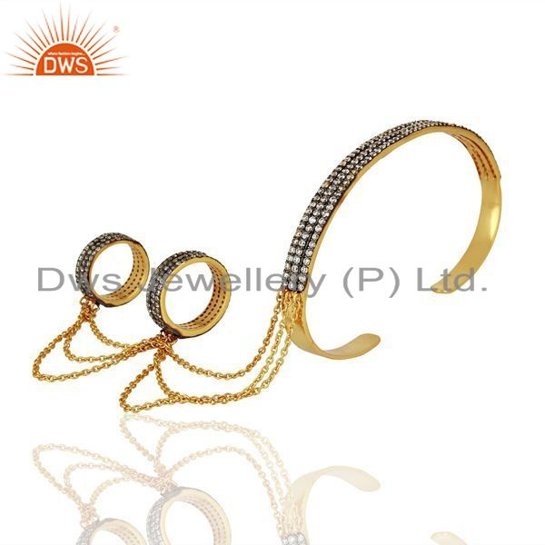 Manufacturer of 14K Gold Plated Brass Pave CZ Slave Bracelet With Two Finger Ring