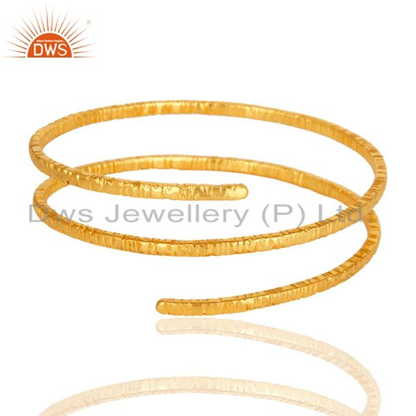 Supplier of 18-carat yellow gold plated brass wire bangle bracelet jewelry