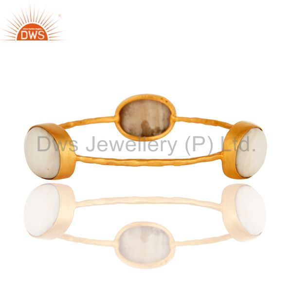 Supplier of Natural mother of pearl yellow gold plated brass handmade bangle