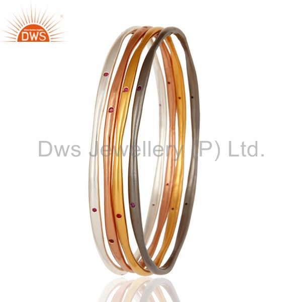 Supplier of Ruby color cz 18k gold plated over brass bangles set of four pcs