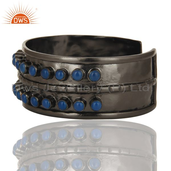 Exporter Handcrafted Black Oxidized Wide Brass Cuff Bangle With Dyed Blue Chalcedony