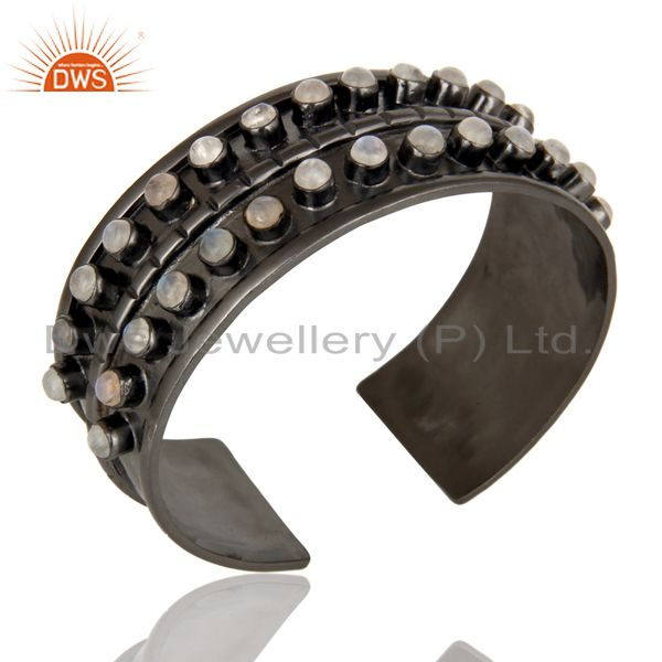 Exporter Handcrafted Black Oxidized Wide Brass Cuff Bangle With Rainbow Moonstone