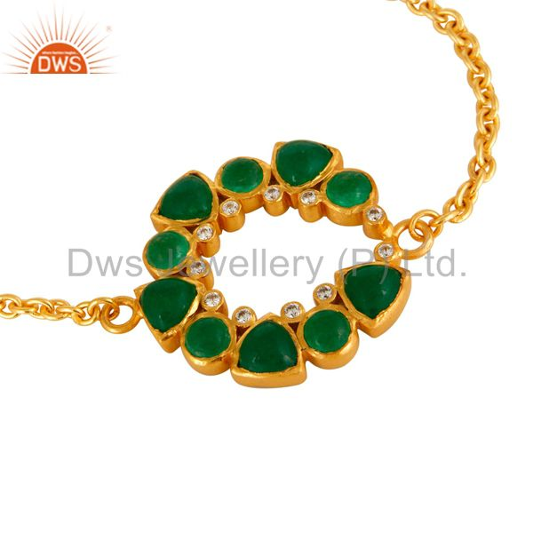 Exporter 24K Yellow Gold Plated Green Aventurine Chain Bracelet With Lobster Lock