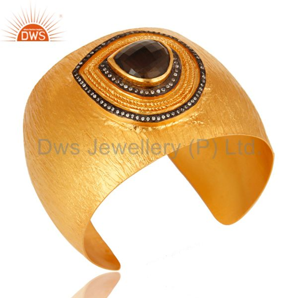 Exporter 22K Gold Plated Matte Finish Smoky Quartz And CZ Textured Wide Brass BANGLE