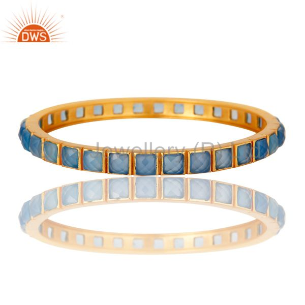 Supplier of 22k yellow gold plated blue chalcedony brass bangle bracelet