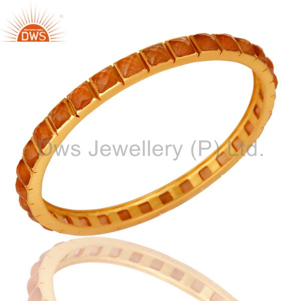 Supplier of 22k yellow gold plated peach moonstone brass bangle bracelet