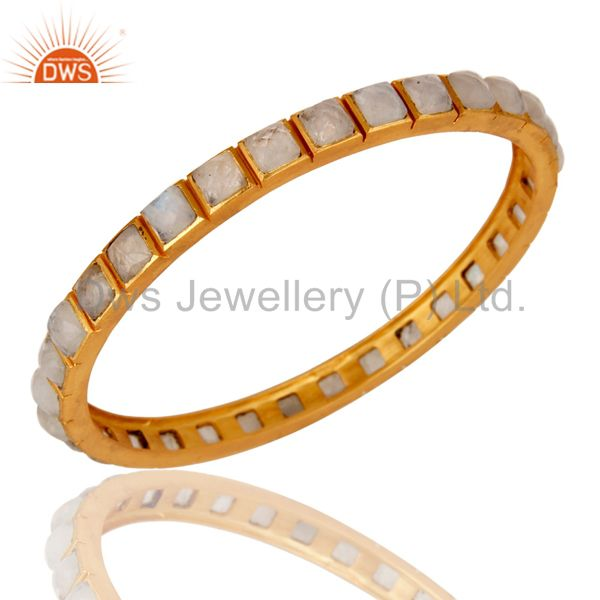 Supplier of 22k yellow gold plated rainbow moonstone brass bangle bracelet