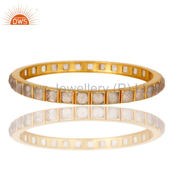 Supplier of 22k yellow gold plated rose quartz brass bangle bracelet