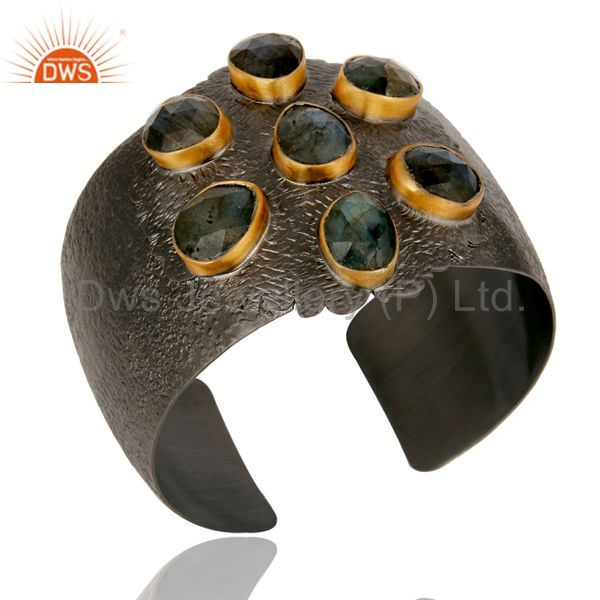 Exporter Natural Labradorite Black Oxidized Handmade Cuff Fashion Jewelry Textured Bangle