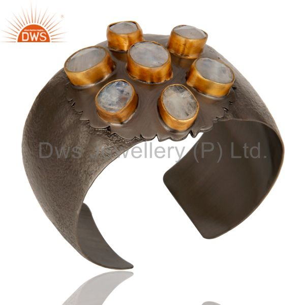 Exporter Moonstone with Black Oxidized Handmade Cuff Fashion Jewelry Textured Bangle