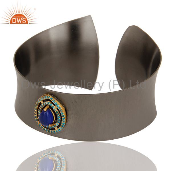 Exporter Black Oxidized Aventurine & Blue Zircon Cuff Fashion Jewelry Cuff Bangle