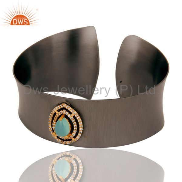 Exporter Black Oxidized Comfort Fit Wide Cuff Made With Aqua Chalcedony and Zircon