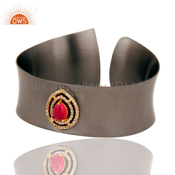 Exporter Black Oxidized Comfort Fit Wide Cuff Made With Pink Chalcedony and Zircon