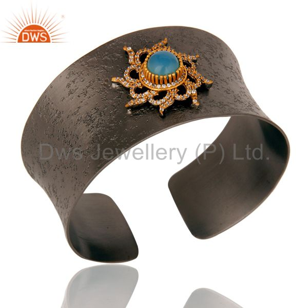 Exporter Blue Chalcedony and Zircon Black Oxidized Comfort Fit Wide Cuff Unique Bangle