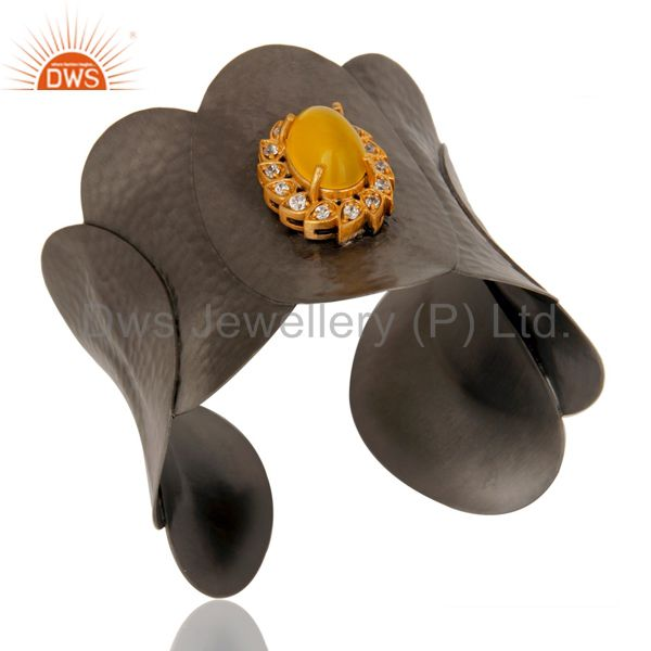 Exporter Yellow Moonstone and CZ Black Oxidized Hammered Textured Cuff Fashion Jewelry